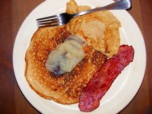 3 pancakes turkey bacon small Fall fun!
