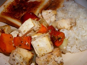 5 bobbys plate 300x224 Maple Roasted Tofu with Root Veggies