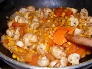6 mushroom corn salad 300x224 Mushroom, corn & cilantro salad (Indian)