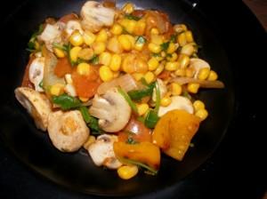 7 mushroom corn salad 300x224 Mushroom, corn & cilantro salad (Indian)