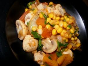 8 mushroom corn salad 300x224 Mushroom, corn & cilantro salad (Indian)
