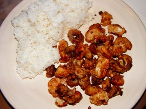 11 fried shrimp 300x225 Savory Eggplant Stirfry