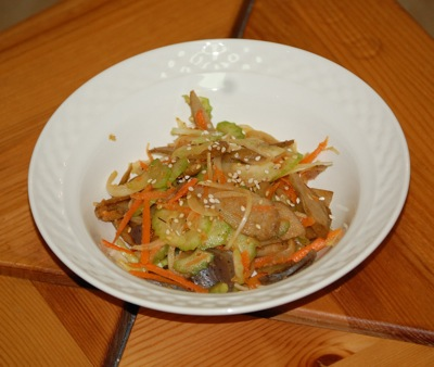 08 burdock salad Recipe: Spicy Burdock Root Salad