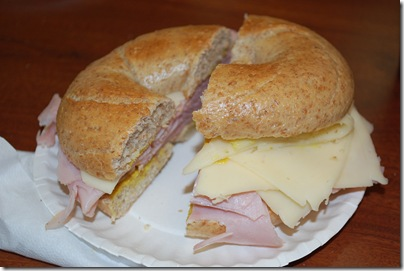 bagel whole wheat ham swiss