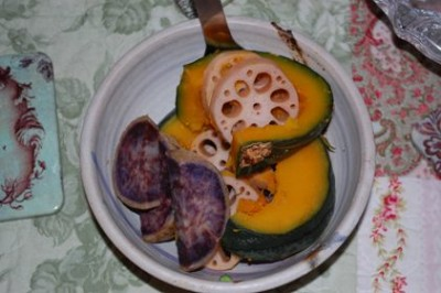 9 macrobiotic kabocha sweet potato lotus 400x266 Just Another Macrobiotic Sunday + Cumin/Tahini/Miso Porgy Recipe