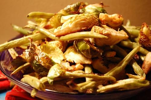 05 brussels beans burdock Recipe: (Organic) Roasted Veggie Bi Bim Bap