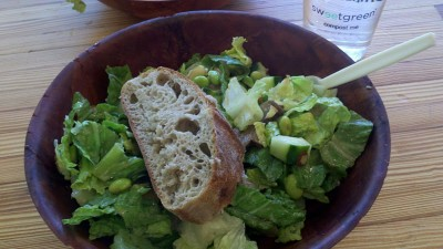 sweet green salad bread lunch compost 400x225 Being Spontaneous: A Healthy Blogger Weekend