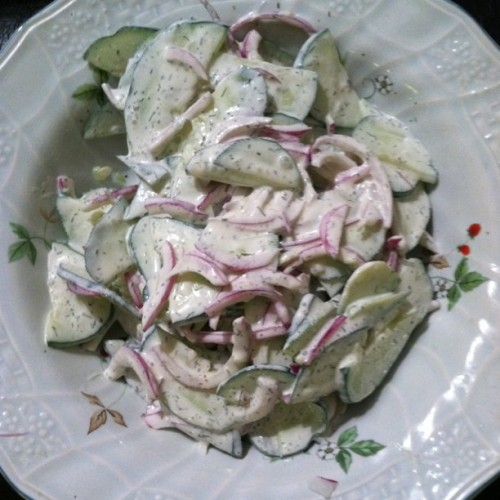 cucumber salad 500x500 Recipe: Creamy Cucumber Dill Salad