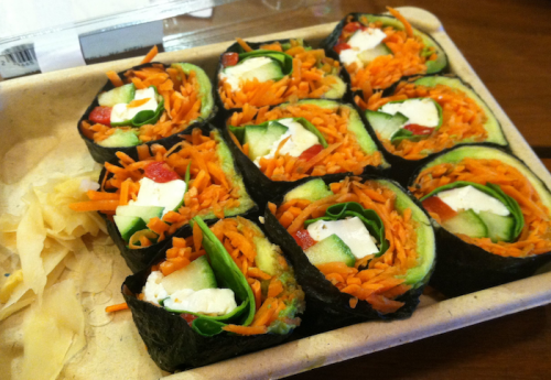 whole foods veggie sushi 500x345 Veggie Sushi and Resolutions 2012