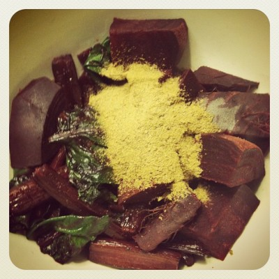 beets and greens brewers yeast 400x400 beets for brains [wiaw   what i ate wednesday]