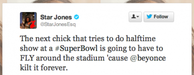 star jones beyonce tweet 400x155 Return to Normalcy, Superbowl Recap, & Link Love