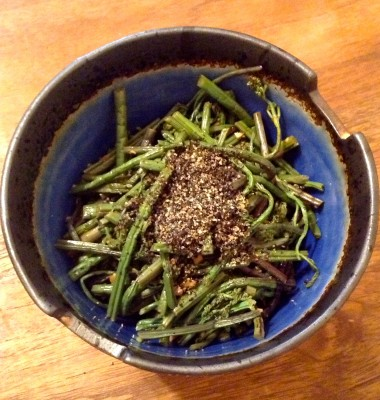 IMG 0013 380x400 {Macrobiotic March Recipe} Sauteed Sesame Fern Bracken / Fiddlehead Ferns