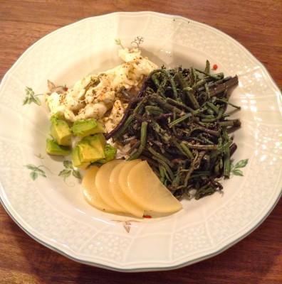 fiddlehead-fern-macrobiotic-breakfast-egg-takuan-avocado