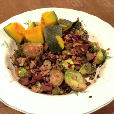 macrobiotic fried rice kabocha brussels 400x400 {Macrobiotic March} Some Macrobiotic Meals (at home and out!)